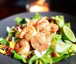 food, salad, and shrimp image
