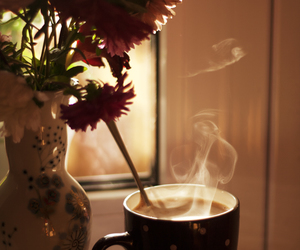coffee, flowers, and cup image