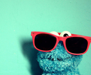 blue, cookie monster, and sunglasses image