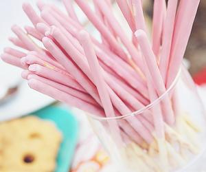 food, pink, and pocky image