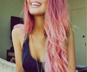 happy and pink hair image