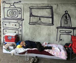 man, art, and homeless image
