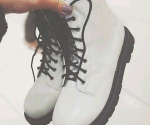 white, boots, and black image