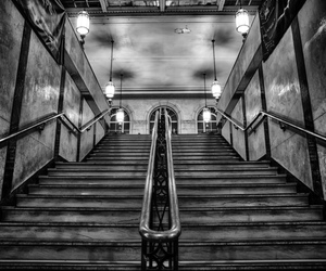 architecture, black & white, and steps image