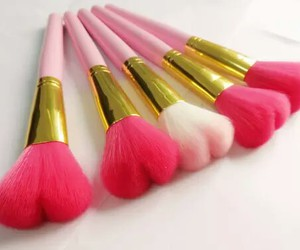 makeup, pink, and brush image