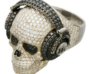 skull, ring, and jewelry image