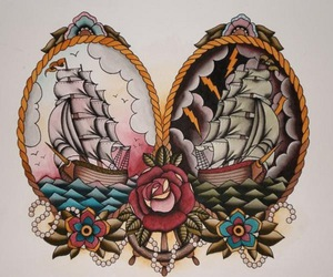 tattoo, ship, and art image