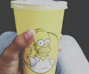 simpsons, yellow, and drink image