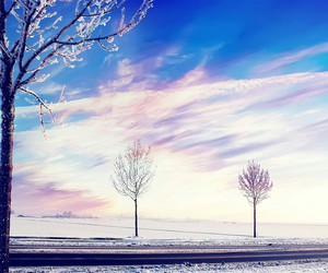 frozen, snow, and sky image