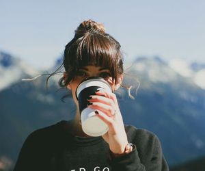 girl, coffee, and mountains image