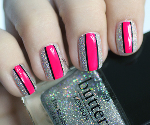 fashion, glitter, and nails image