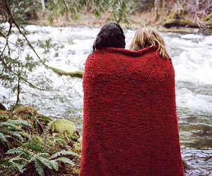 girl, river, and blanket image