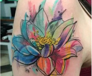 tattoo, flowers, and watercolor image