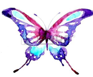 aquarela, butterfly, and colors image