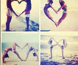 friends, heart, and beach image