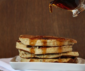 pancakes, food, and peanut butter image