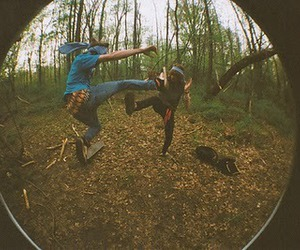boy, fisheye, and forest image