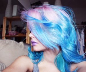 hair, girl, and blue image