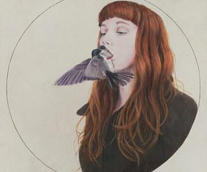 bird, girl, and art image