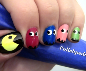 nails, pacman, and nail art image