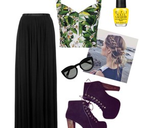 cropped, maxi skirt, and summer image