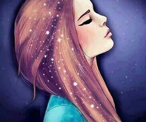 girl, galaxy, and art image