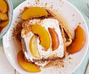 cream, french toast, and peach image