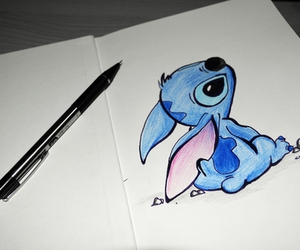 drawing, stitch, and blue image