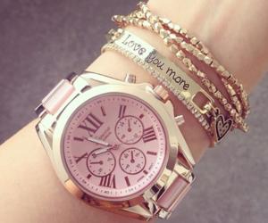 bracelet, pink, and gold image