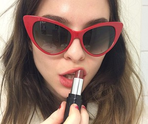 girl, lipstick, and red image