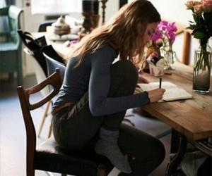 girl, writing, and study image