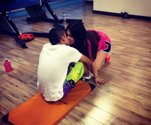 couple, fitness, and kiss image