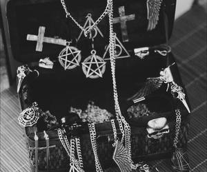 necklace, cross, and black image