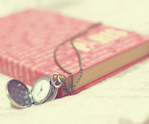 book, pink, and clock image
