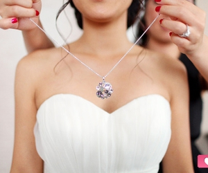 wedding, necklace, and dress image