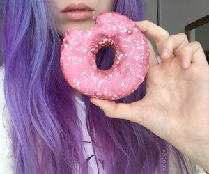 donuts, purple, and hair image
