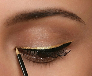 makeup, gold, and eyeliner image