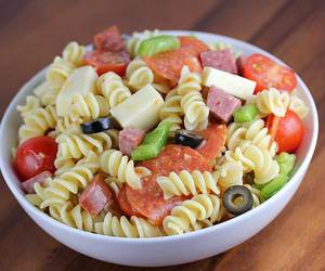 pasta, salad, and cheese image