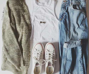 converse, denim, and sweater image