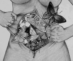 art, black and white, and butterflies image