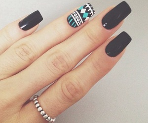 nails, black, and ring image