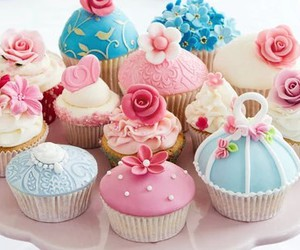 cupcakes, flower, and muffins image