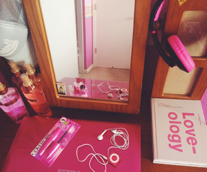 pink, pink headphones, and cute image