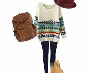 backpack, hat, and outfit image