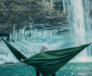 waterfall, travel, and hammock image