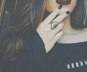girl, black, and lips image