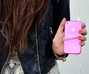 iphone, girl, and pink image