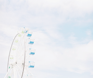 blue, ferris wheel, and sky image