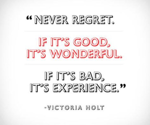 quote, experience, and regret image