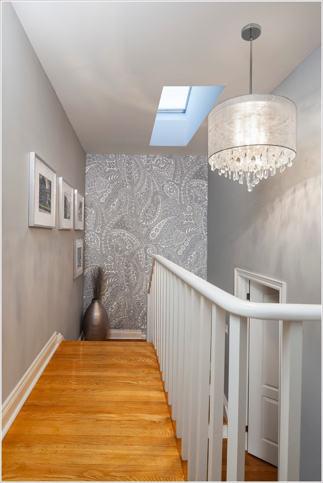 Contemporary Staircase With Wooden Tread Combine White Color Railings Featuring Crystal Drum Linen Chandelier Design Compatible For Your Home Of Contemporary Staircase And Chandelier Ideas For Home Hallway Chandeliers Hall Chandeliers Foyer